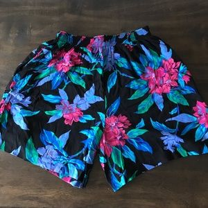 Vintage Hawaiian Shorts Black with Floral Design